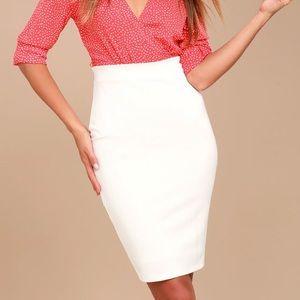Lulu's White Pencil Classic Business Skirt